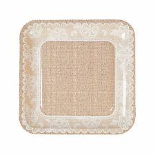 Burlap & Lace Paper Dinner Plates - 8 Ct. - Party Supplies - 8 Pieces