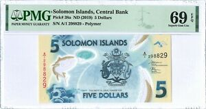 Solomon Islands 5 Dollars P38a 2019 PMG 69 EPQ s/n A/1 298829 Polymer