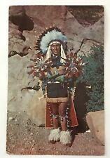 Postcard North American Native Chief In Full Dress Costume vtg 1955 BB