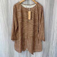 *BNWT* TENDENCY Brown White Stripes SIZE 16 UK 3/4 Sleeve Top