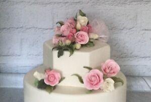 3 Piece Gum Paste Wedding/Celebration Cake Topper/Decoration