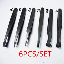 6PC Black Precision Tweezer Set Plastic Anti Static Tool Kit Size 1/2/3/5/6/8 HS