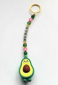 Sweetest Personalised Avocado Keyring / Bag Charm  (you choose a name) handmade