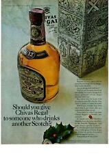 1963 Chivas Regal 12 Years Old Scotch Whisky Christmas Gift Box Holly Print Ad