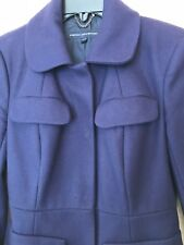 FRENCH CONNECTION RRP £180 WOOL CASHMERE COAT UK 8 DARK PURPLE JACKET SMART