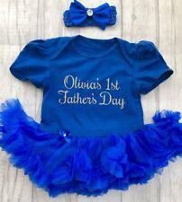 PERSONALISED BABY GIRLS 1ST FATHERS DAY Tutu Romper Dress NEWBORN LOVE Present