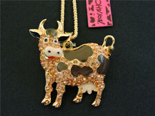 Betsey Johnson Gold Enamel Crystal Cow Pendant Sweater Chain Necklace Gift