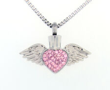 Sparkling Pink Heart With Wings Cremation Jewelry Pendant Keepsake Urn - Funnel