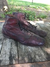 Antique Mens Leather Work Boots Edwardian Size 15