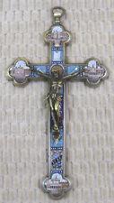 "Antique Rome Italy Cross of Christ Micro Mosaic & Bronze 7 3/8""T"