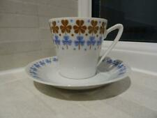 Stylish Retro Upsala Ekeby Cup & Saucer Duo With Clover Decoration Angled Handle