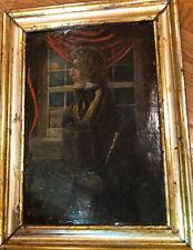 1832 Antique 19thC Portrait Oil Painting on Board Gentleman Identified Top Hat
