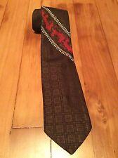 Vintage Brown Necktie With Chariot Pattern