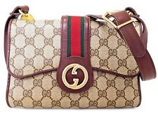 *Authentic Old GUCCI GG Plus Beige PVC Sherry line Green Red Shoulder Bag Italy