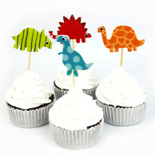 24X/set Dinosaur Toppers Pick Cupcake Topper Baby Shower Birthday Party Decor JH