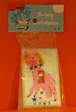 VINTAGE BINKY - BABY / NURSERY SWITCH PLATE - PINK LAMB