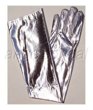 "23"" SHINY LAME SILVER LONG NYLON BRIDAL WEDDING PROM PARTY COSTUME OPERA GLOVES"