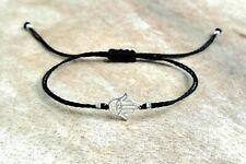 Hamsa Bracelet 925 Sterling Silver Evil Eye Adjustable Black Cord ~other colours