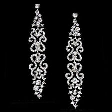 GORGEOUS WHITE GOLD PLATED CLEAR AUSTRIAN CRYSTAL LONG DANGLE STATEMENT EARRINGS