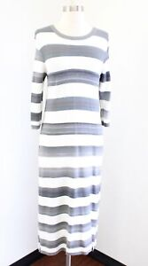 Maeve Anthropologie Gray Ombre Striped Bodycon Knit Midi Maxi Dress Size M