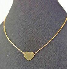 9ct Yellow Gold Flat Heart Necklace 0.73g NEW Wife Girlfriend Mum BFF Xmas Gift