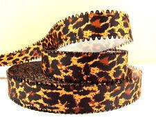 1 Metros cinta de borde de onda oscuro Estampado de Leopardo Talla 7/8 Diademas Moños Clips Pastel