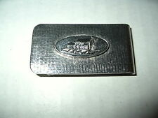 Vintage Textured Silvertone Money Clip With Picture Of Country Home