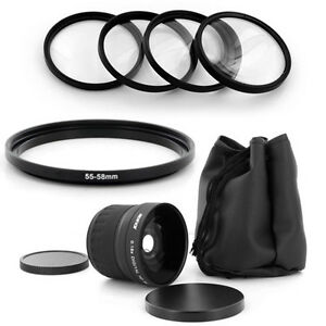 55mm Wide angle Fish Eye 0.18x lens,Macro for SONY DSLR A200 A300 A350 Camera
