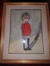 Margaret Keane Big Eyes Style Artist Signed JLW Original Pastel Crying Child