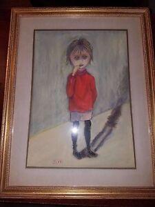 Margaret Keane Big Eyes Style Artist Signed JLW Original Pastel Crying Child