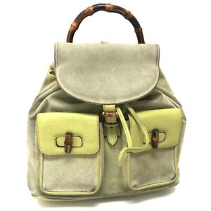 GUCCI Old Gucci Bamboo Backpack - Daypack Light Green suede
