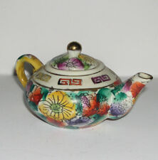 Art Pottery Attractive Miniature Display Chinese Style Floral & Gilding Tea Pot