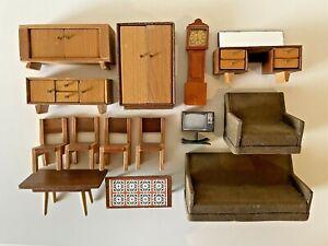 Vintage Doll house furniture BARTON wooden handmade unique pieces