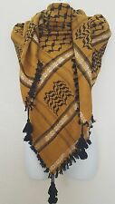 Gold Rust Black Unisex Shemagh Head Scarf Neck Wrap Cottton Dark Yellow Cover