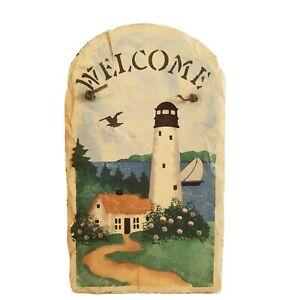 "Welcome Slate Lighthouse Nautical Scene 13.5"" x 8.5""x. 25"""