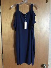Eileen Fisher Navy Cold-Shoulder Jersey Short Sleeve Shift Midi Dress SZ L
