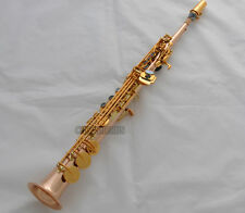 Professional Built-in Soprano Saxophone Rose Brass Straight Bb Sax High F# G New