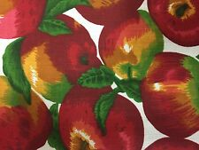 """White Apple Print Poly Cotton Fabric - Sold By The Yard - 59"""""""