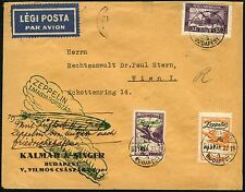 Zeppelin Ungarn 1931 Ungarnfahrt Rückfahrt Brief nach Wien Si 103 c II / 161