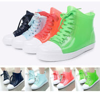 Women Lady Clear Jelly Rain Boots Lace Up Low Ankle Flat Rubber Wellies Shoes US