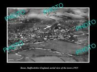 OLD POSTCARD SIZE PHOTO OF STONE STAFFORDSHIRE ENGLAND TOWN AERIAL VIEW c1925
