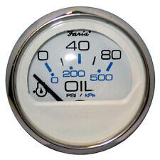 "FARIA CHESAPEAKE WHITE SS 2"" OIL PRESSURE GAUGE (80 PSI)"