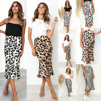 Women Cheetah Leopard Print Casual Mid-Calf Skirt Club Holliday Bodycon Dress