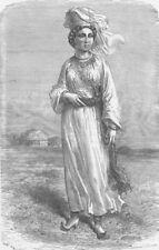 UZBEKISTAN. Turkoman girl of Bukhara 1892 old antique vintage print picture