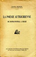 Genevièce Bianquis - La poésie autrichienne - De Hofmannsthal à Rilke - PUF