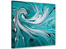 Large Teal Swirl - Abstract Canvas Modern - 49cm Square - 1s266s