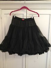 Betsey Johnson Petticoat Black Ruffled Skirt  With Pink Rose One Size