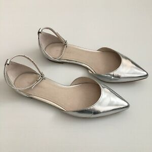 Witchery Ankle Strap Pointy Toe Shoes Size 37 Silver Flats