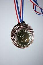 """Médaille  """" Bronze """" NUMÉRO 3 Doré avec ruban diamètre 70 mm poids 50 gr"""