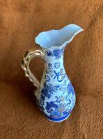 """Vintage Porcelain Vase-Jar Hand Painted White/Blue/Gold With Handle 11"""" Hi"""